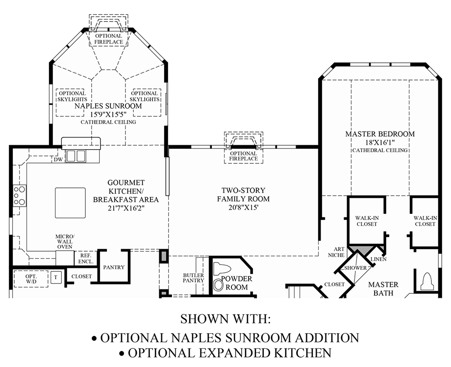 Optional Naples Sunroom Addition & Expanded Kitchen Floor Plan