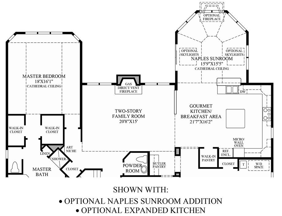 Optional Naples Sunroom/Expanded Kitchen Floor Plan