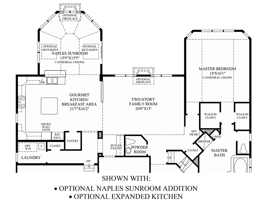 Optional Naples Sunroom Addition/Expanded Kitchen Floor Plan
