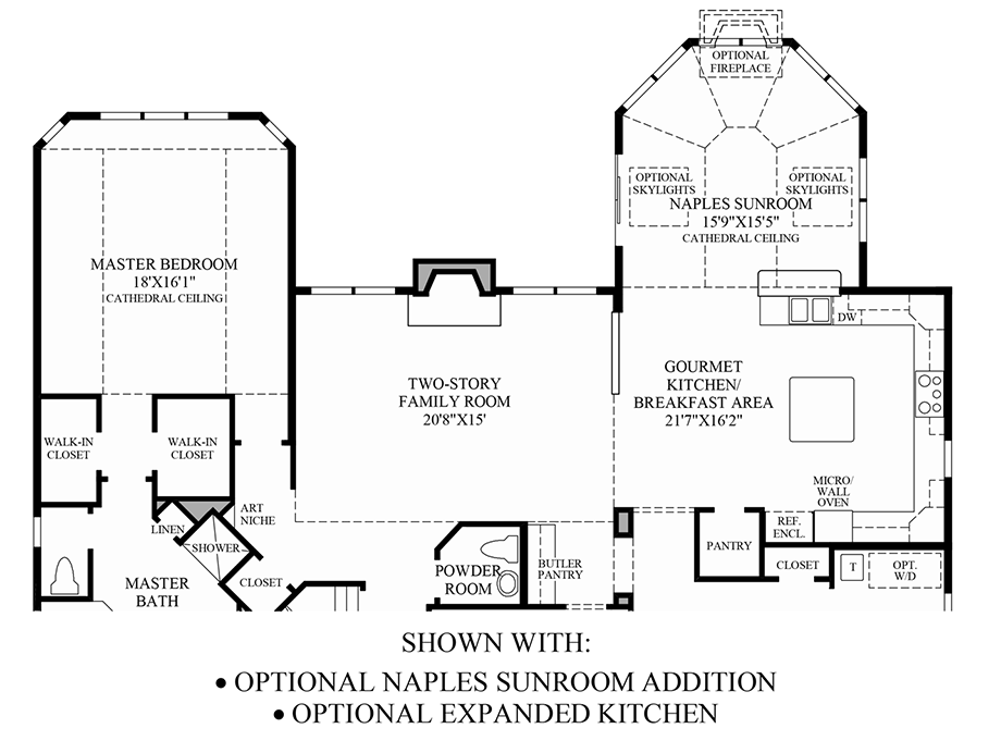 Optional Naples Sunroom Addition/Expanded Kitchen Floor Plan