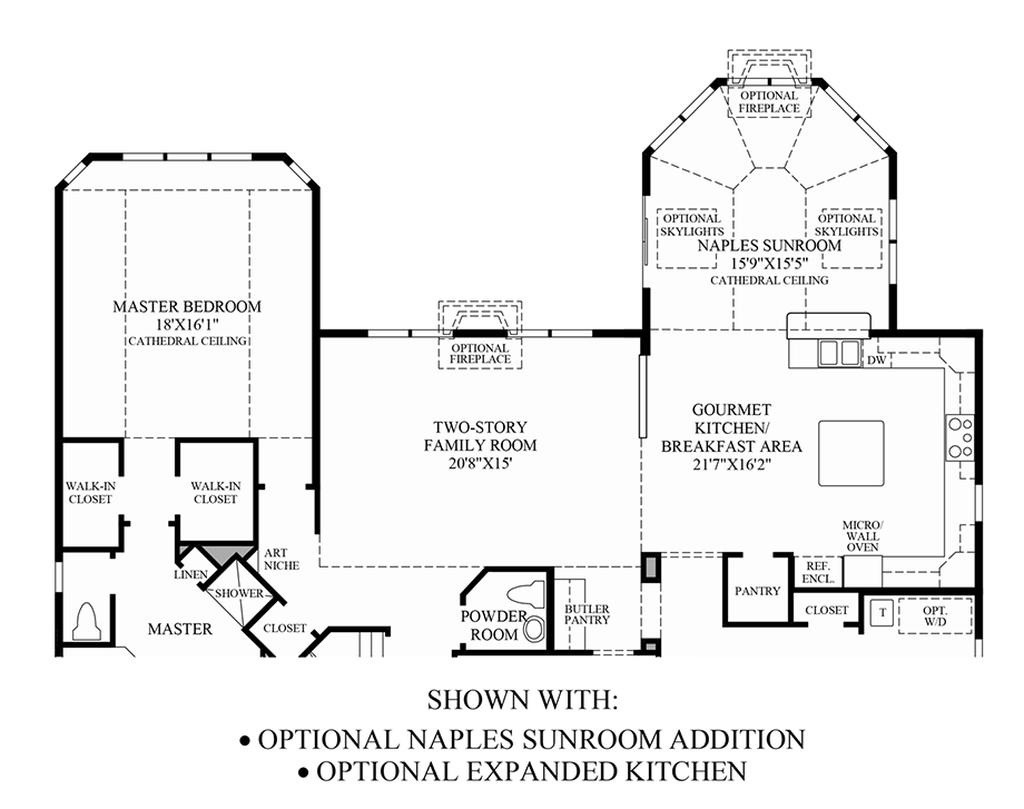 Optional Naples Sunroom Addition/ Expanded Kitchen Floor Plan