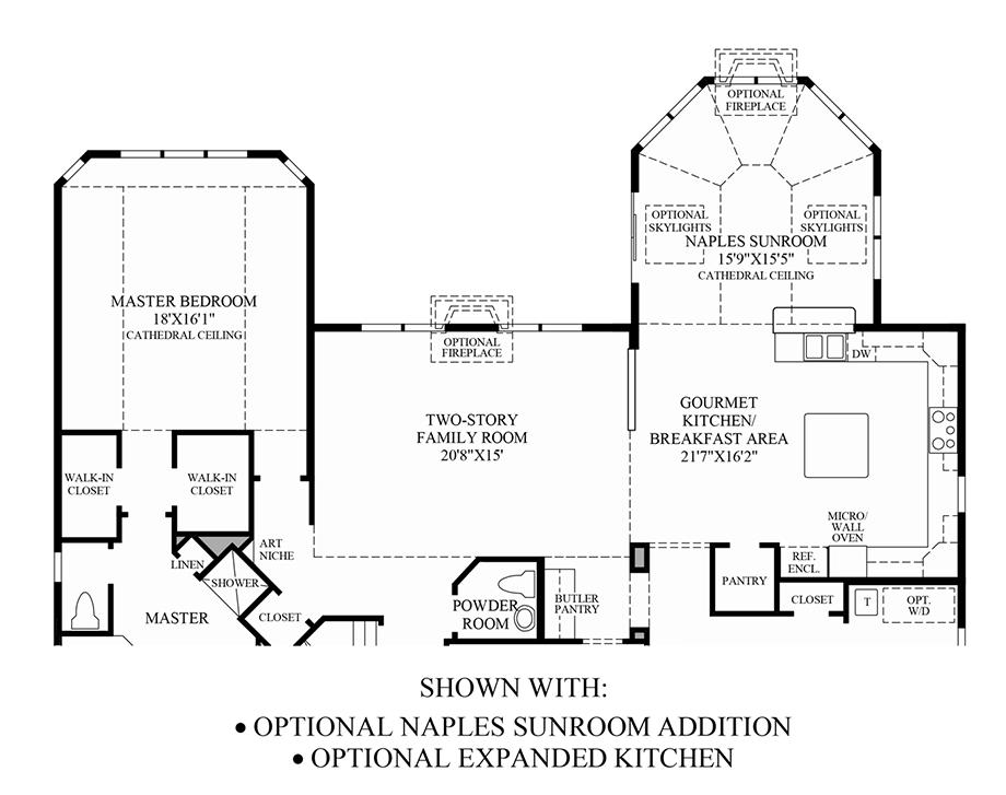 Optional Naples Sunroom Addition/ Expanded Kitchen Floor Plan