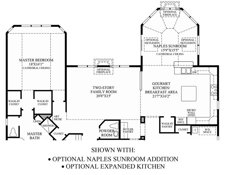 Optional Naples Sunroom Addition & Expanded Kitchen Floor Plan