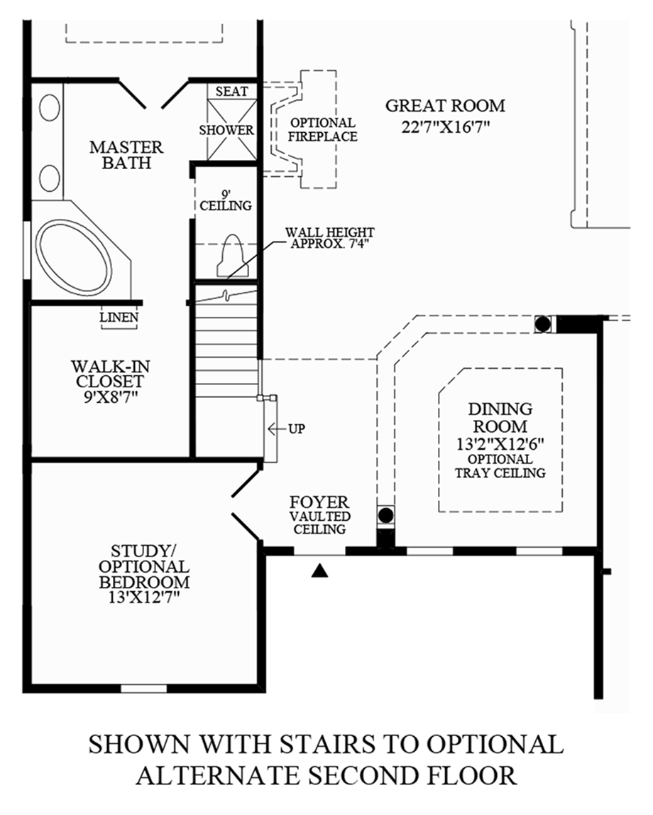 Toll Brothers At Bent Creek Carolina Collection The Waverly Home Valet Intercom Wiring Diagram Stairs To Optional Alternate Second Floor