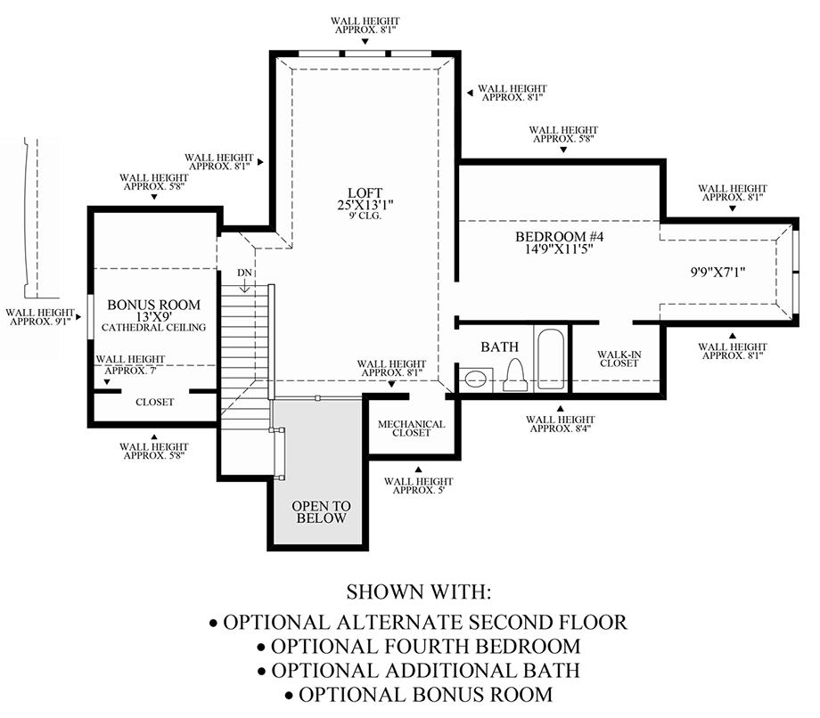 Optional Alternate 2nd Floor, 4th Bedroom, Additional Bath & Bonus Room Floor Plan