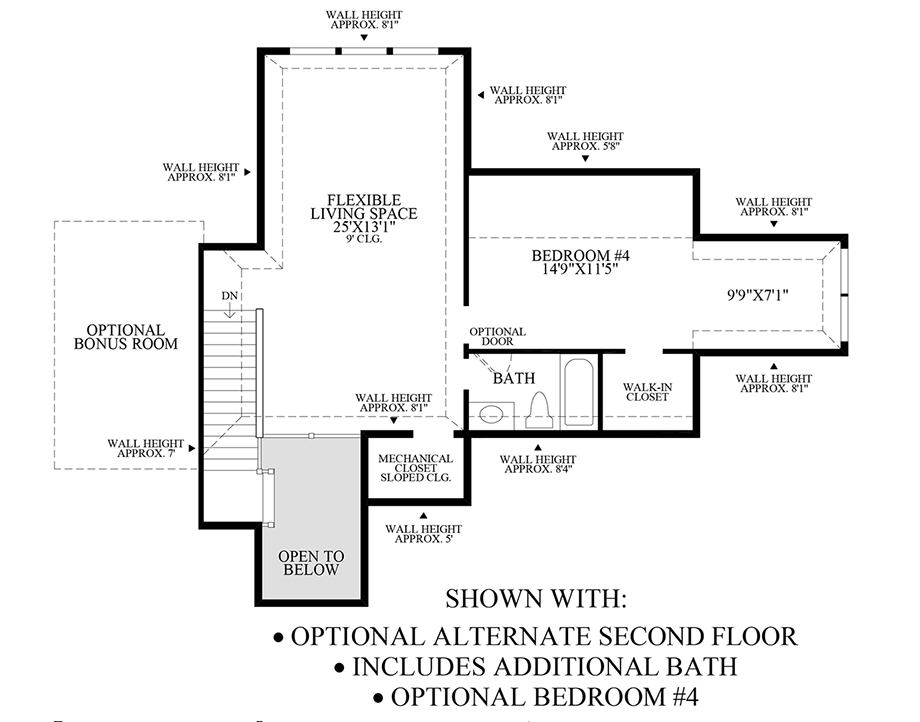 Optional Alternate Second Floor, Additional Bedroom, and Additional Bath