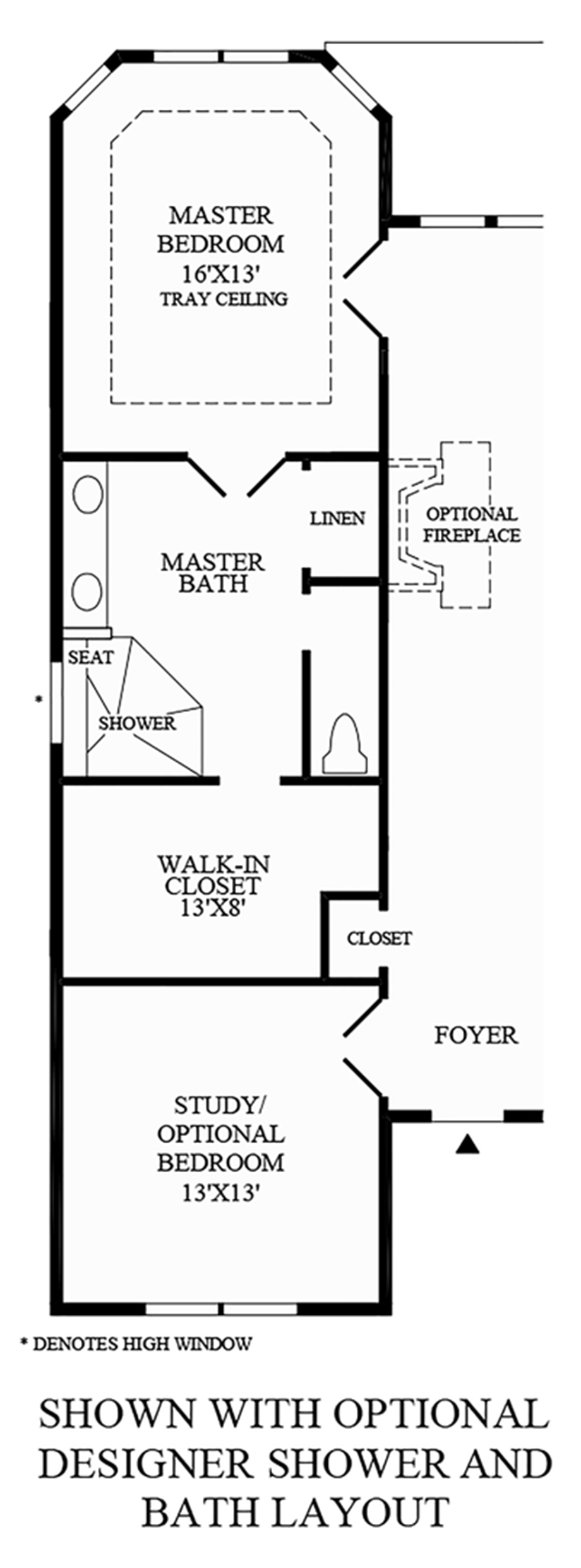 Optional Designer Shower and Bath Layout Floor Plan