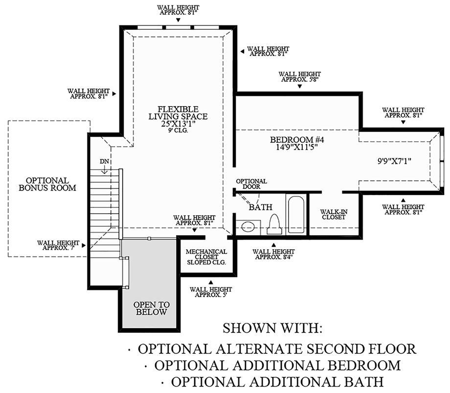 Optional Alternate Second Floor, Additional Bedroom, and Additional Bath Floor Plan