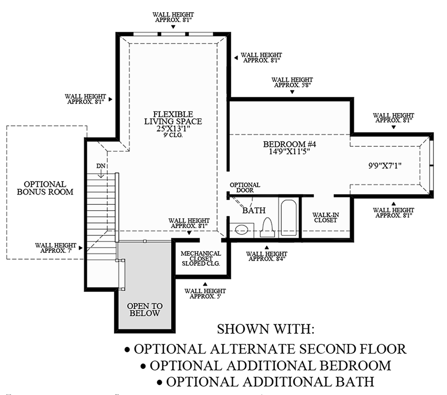 Optional Alternate Second Floor, Additional Bedroom, and Additional Bath Floor Plan