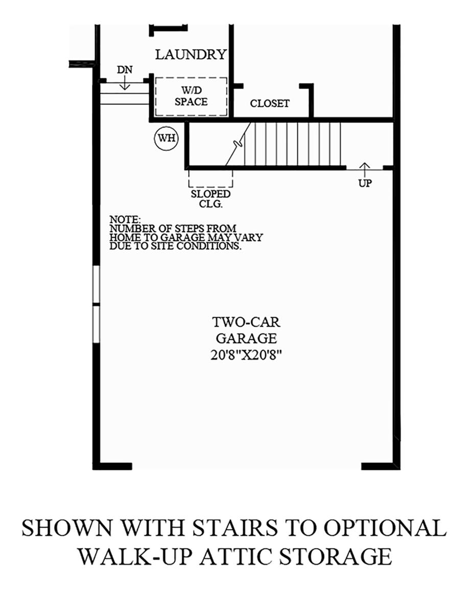Stairs to Walk-Up Attic Storage Floor Plan