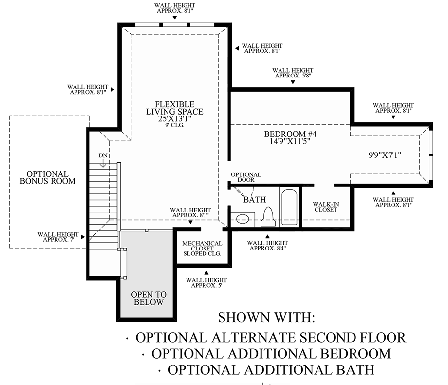 Optional Alternate 2nd Floor & Additional Bedroom & Bath Floor Plan