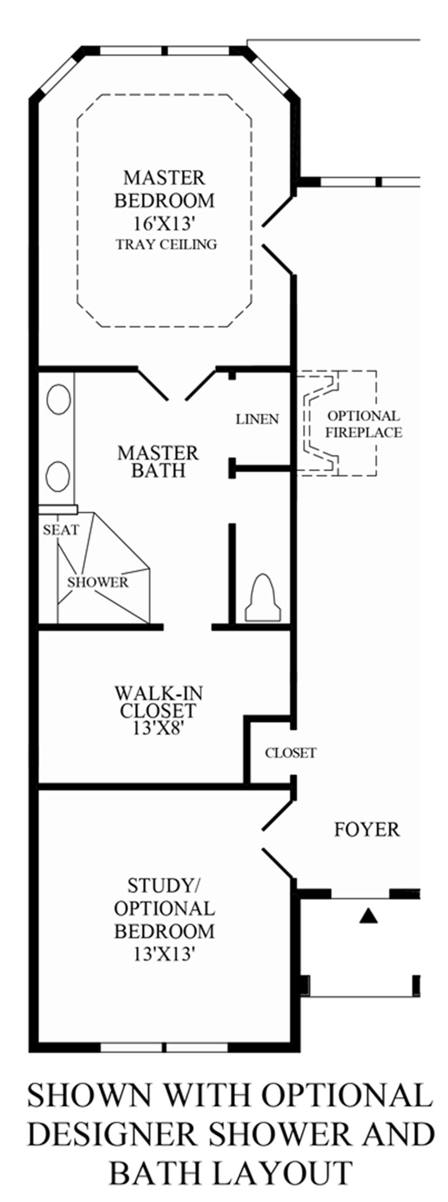 Optional Designer Shower & Bath Layout Floor Plan