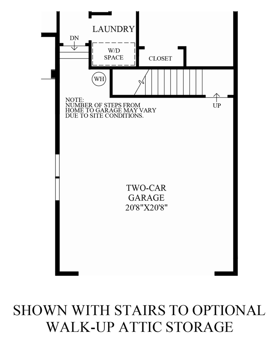 Optional Stairs to Walk-Up Attic Storage Floor Plan