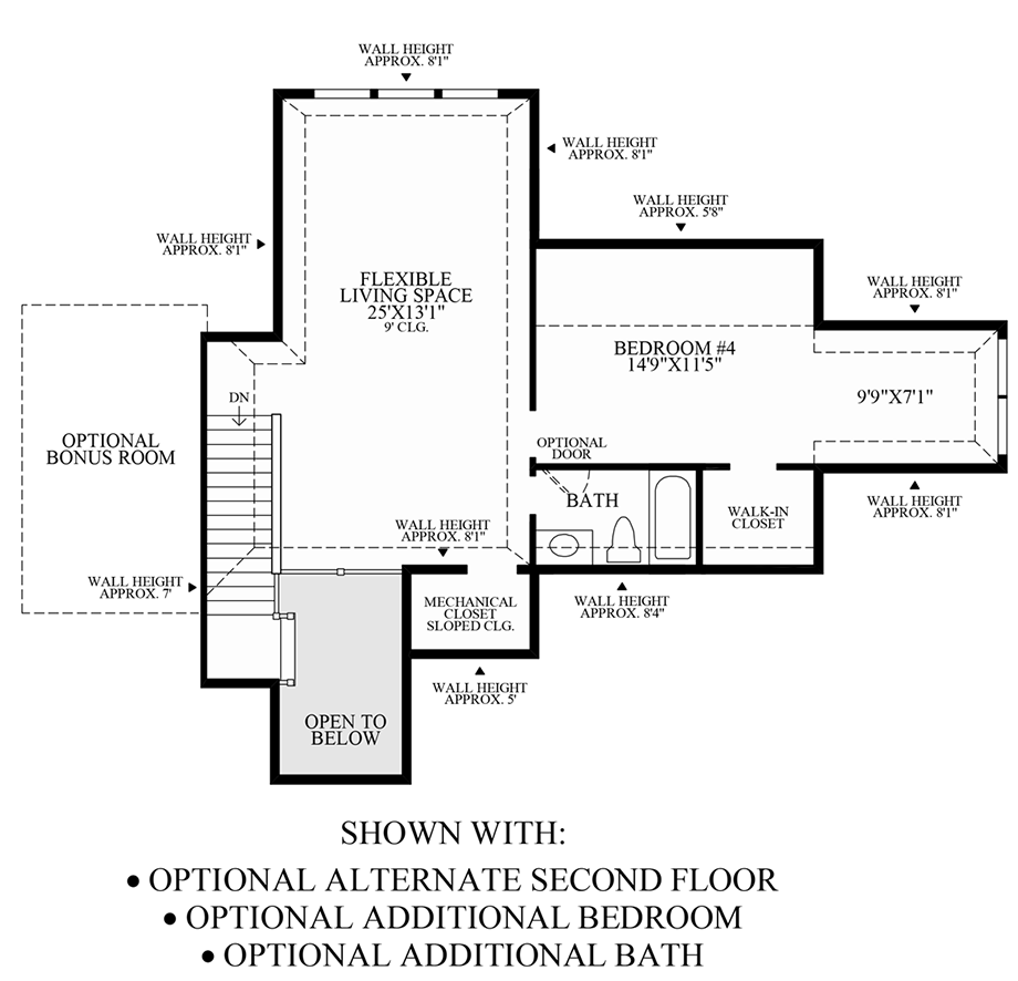 Optional Alternate 2nd Floor, Additional Bedroom & Bath Floor Plan