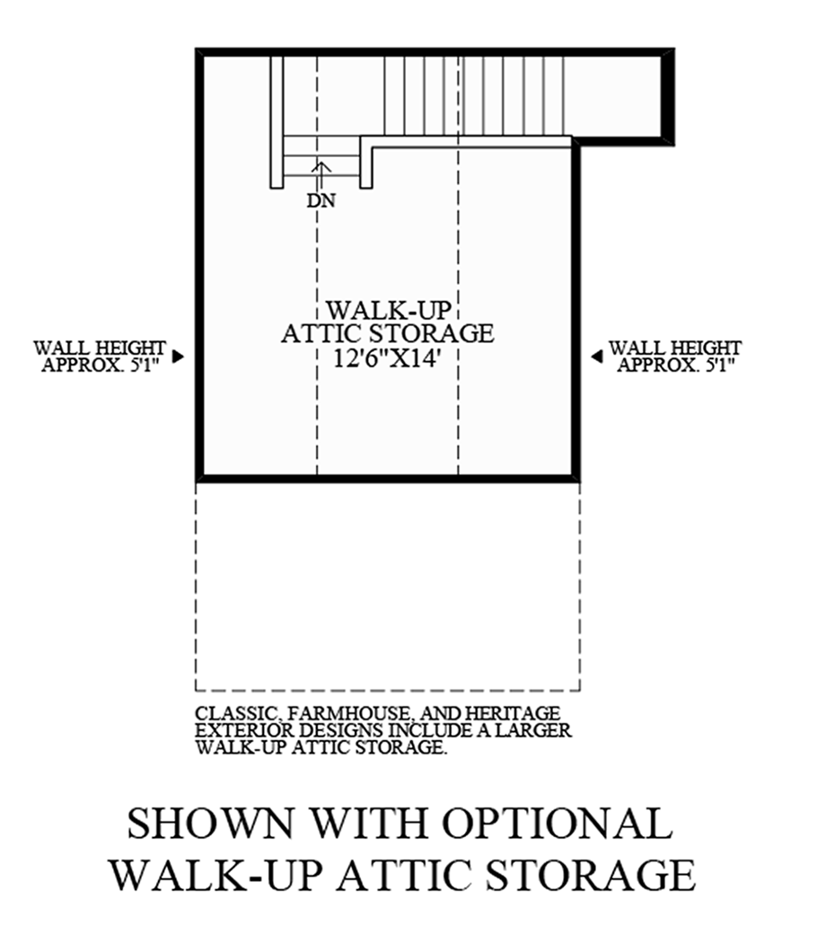 Optional Walk-Up Attic Storage Floor Plan