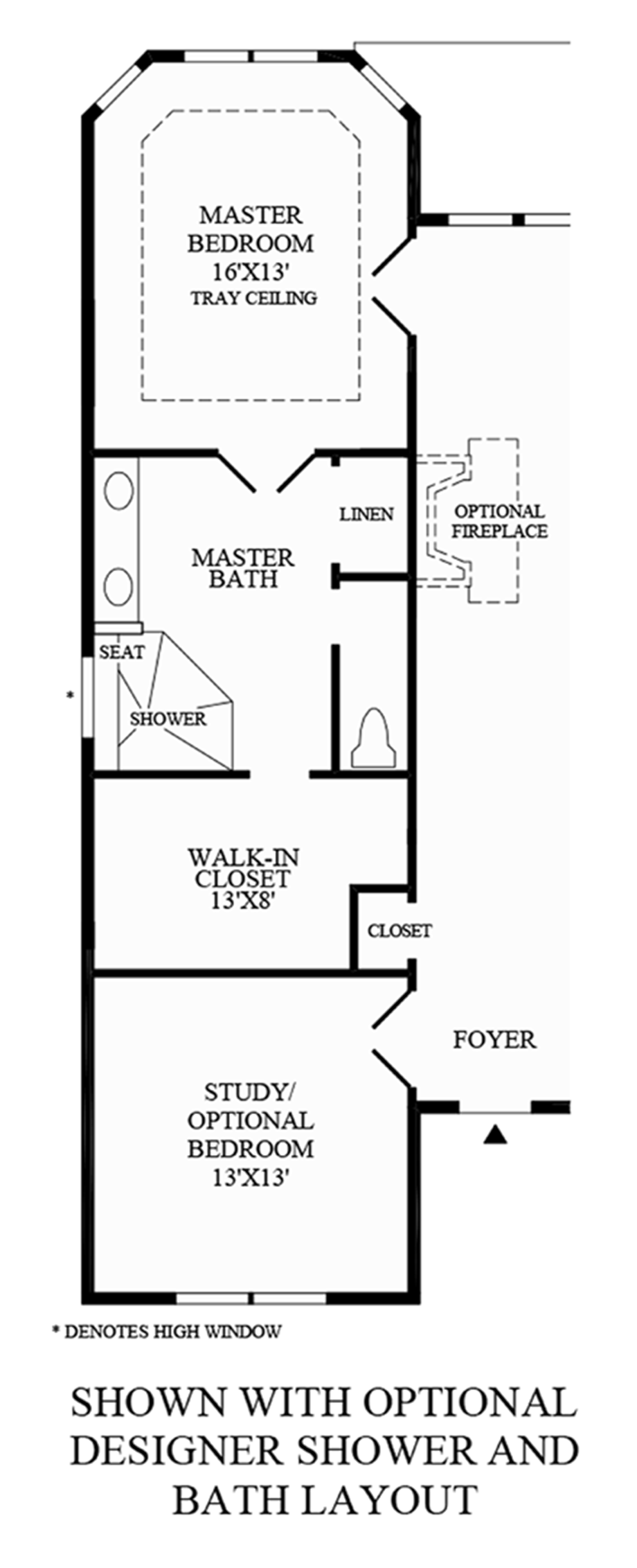 Optional Designer Shower and Bath Layout Floor Plan