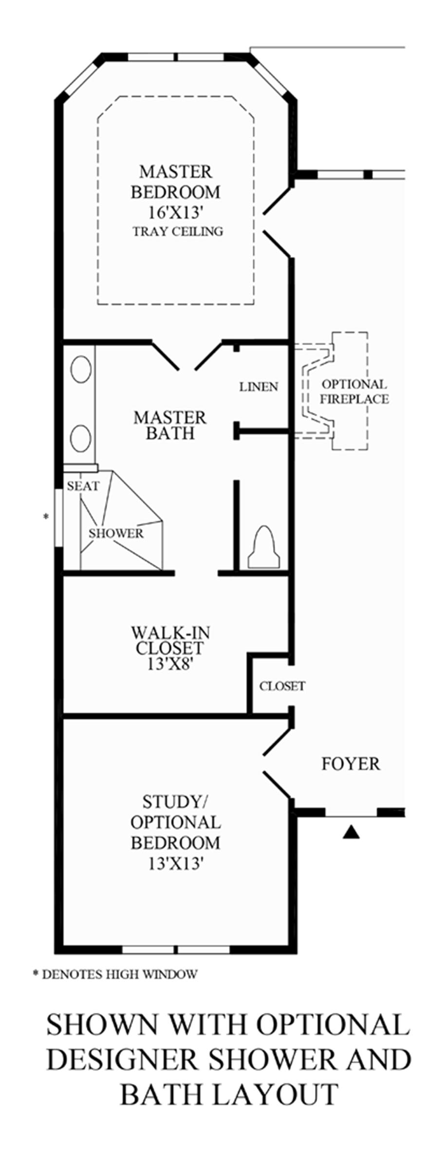 Optional Designer Shower and Bath Layout