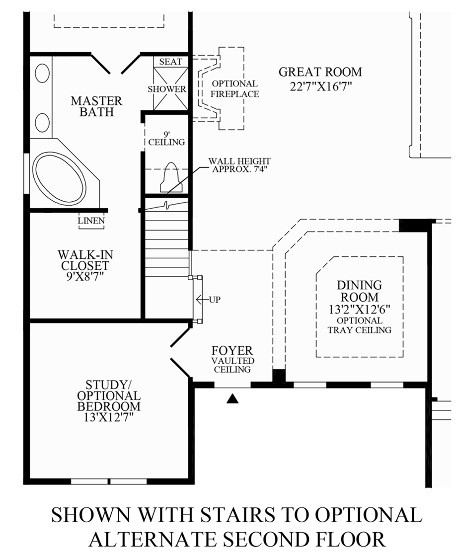 Stairs to Optional Walk-Up Attic Storage Floor Plan