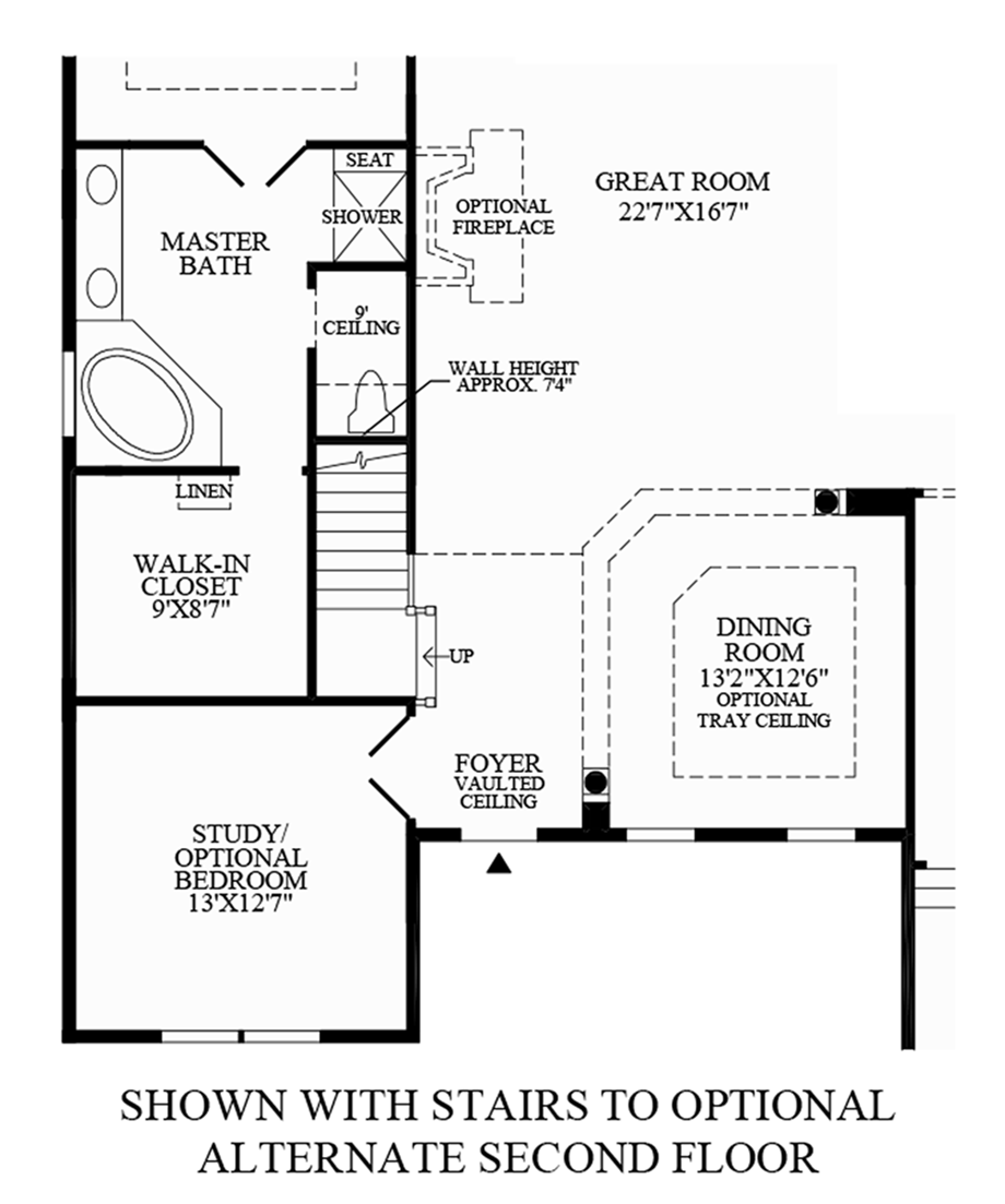 Stairs to Optional Alternate Second Floor Floor Plan