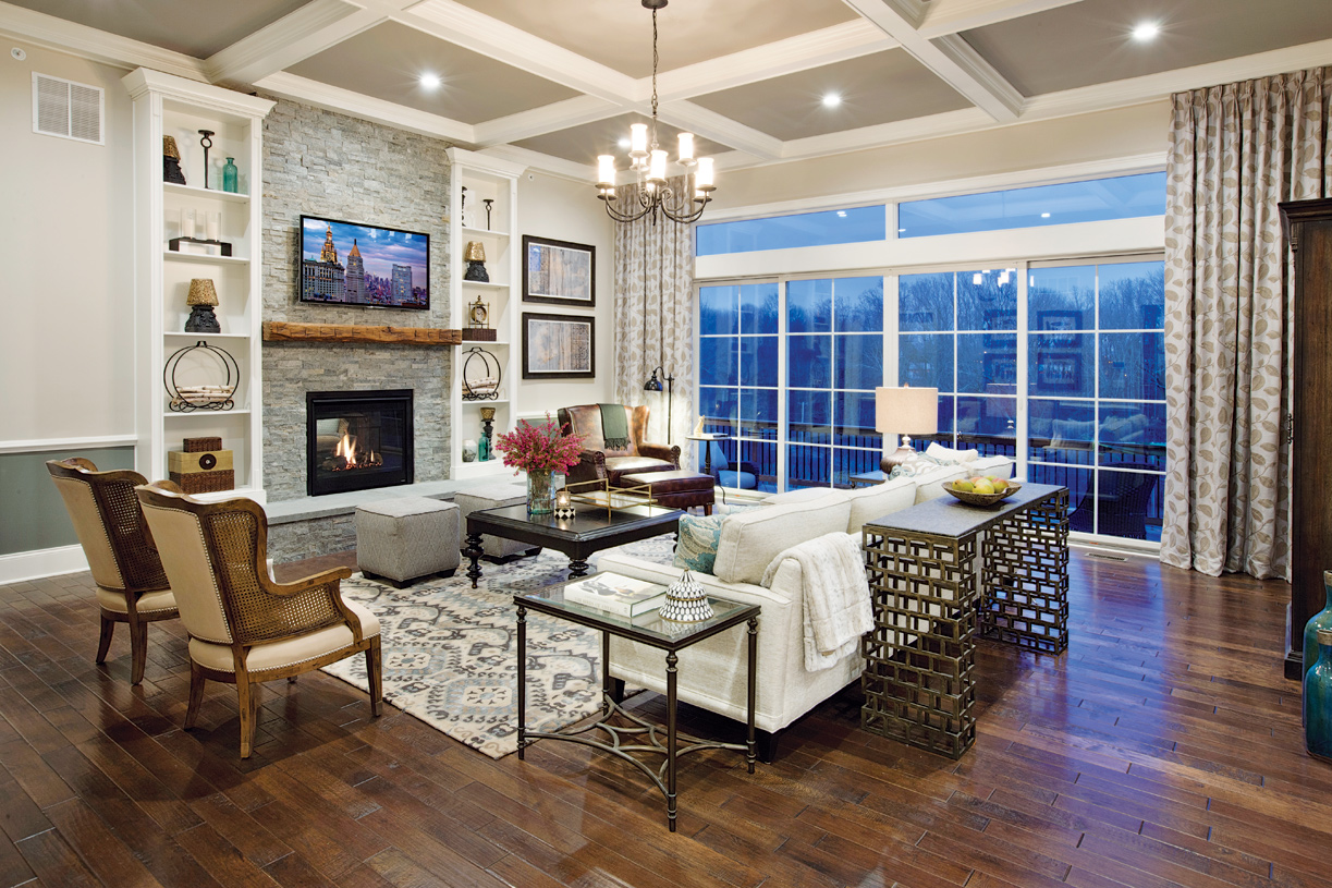 Expansive great room with fireplace
