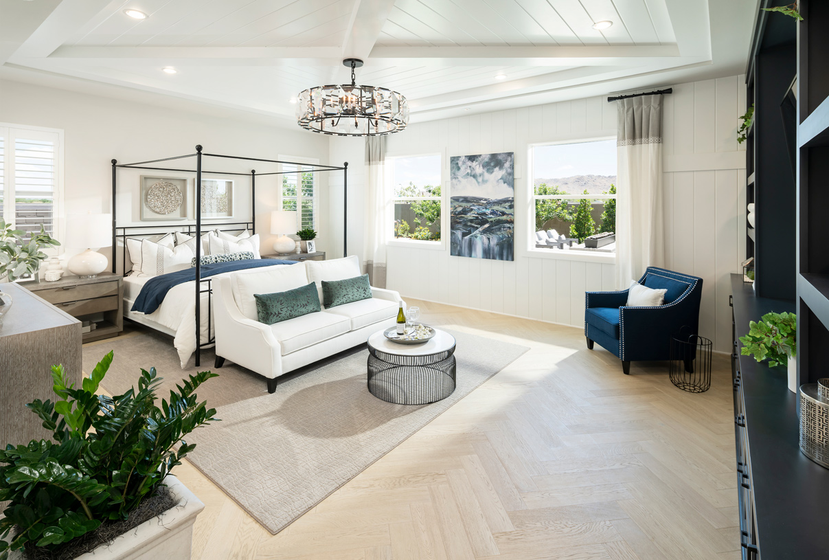 Luxurious primary bedroom suite with a seating area