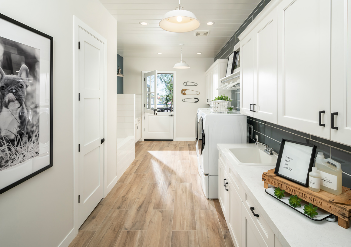 Large laundry rooms with ample cabinet space