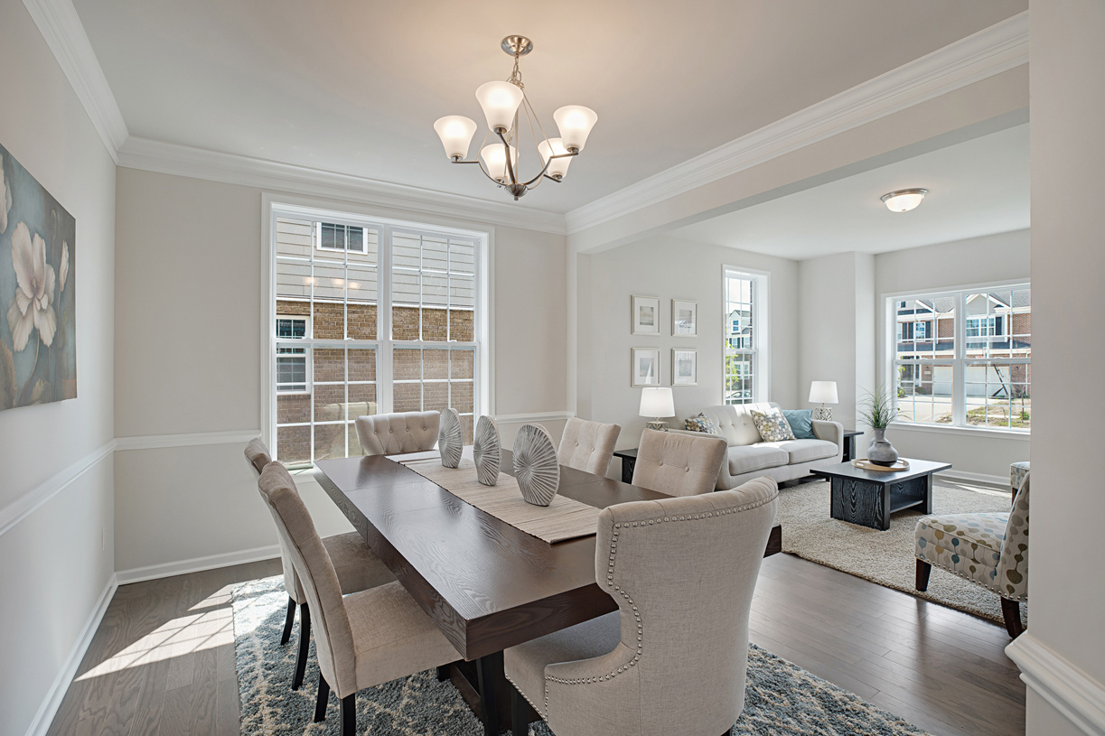 Dining room flows into the formal living room