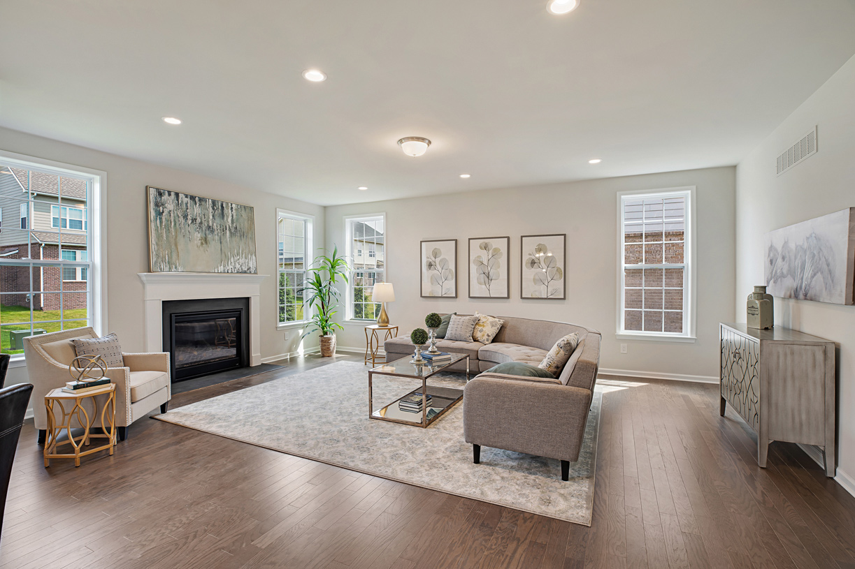 Spacious great room shown with optional fireplace