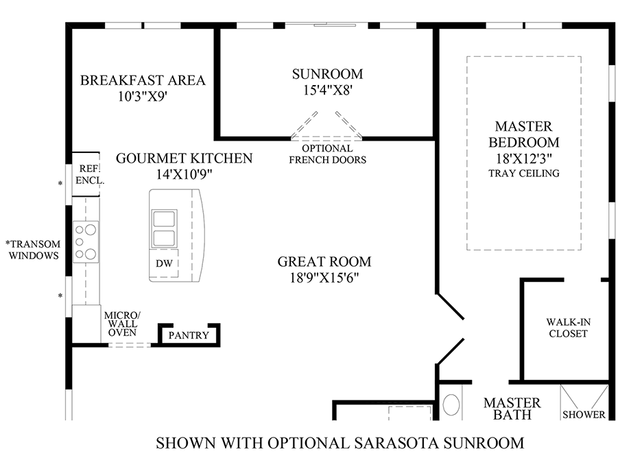 Optional Sarasota Sunroom Floor Plan