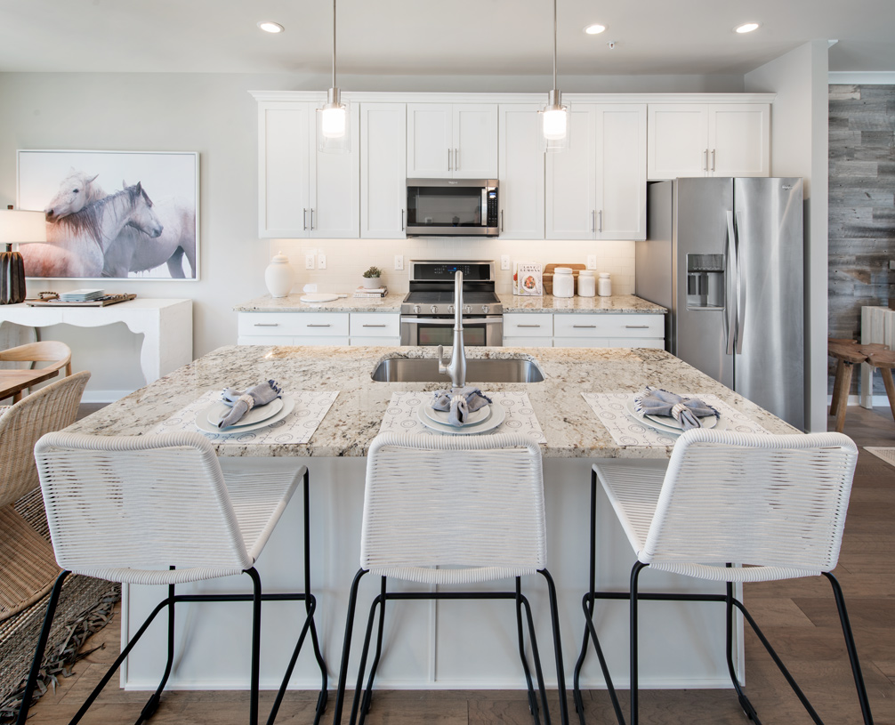 Kitchen centrally located between great room and dining room