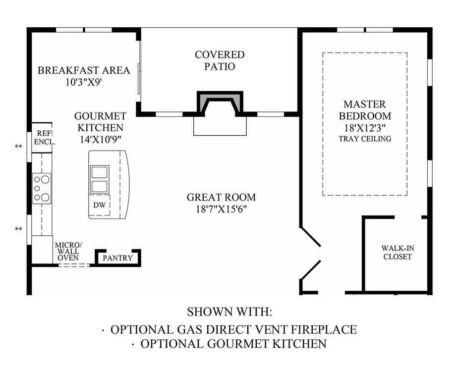 Optional Gas Direct Vent Fireplace & Gourmet Kitchen Floor Plan