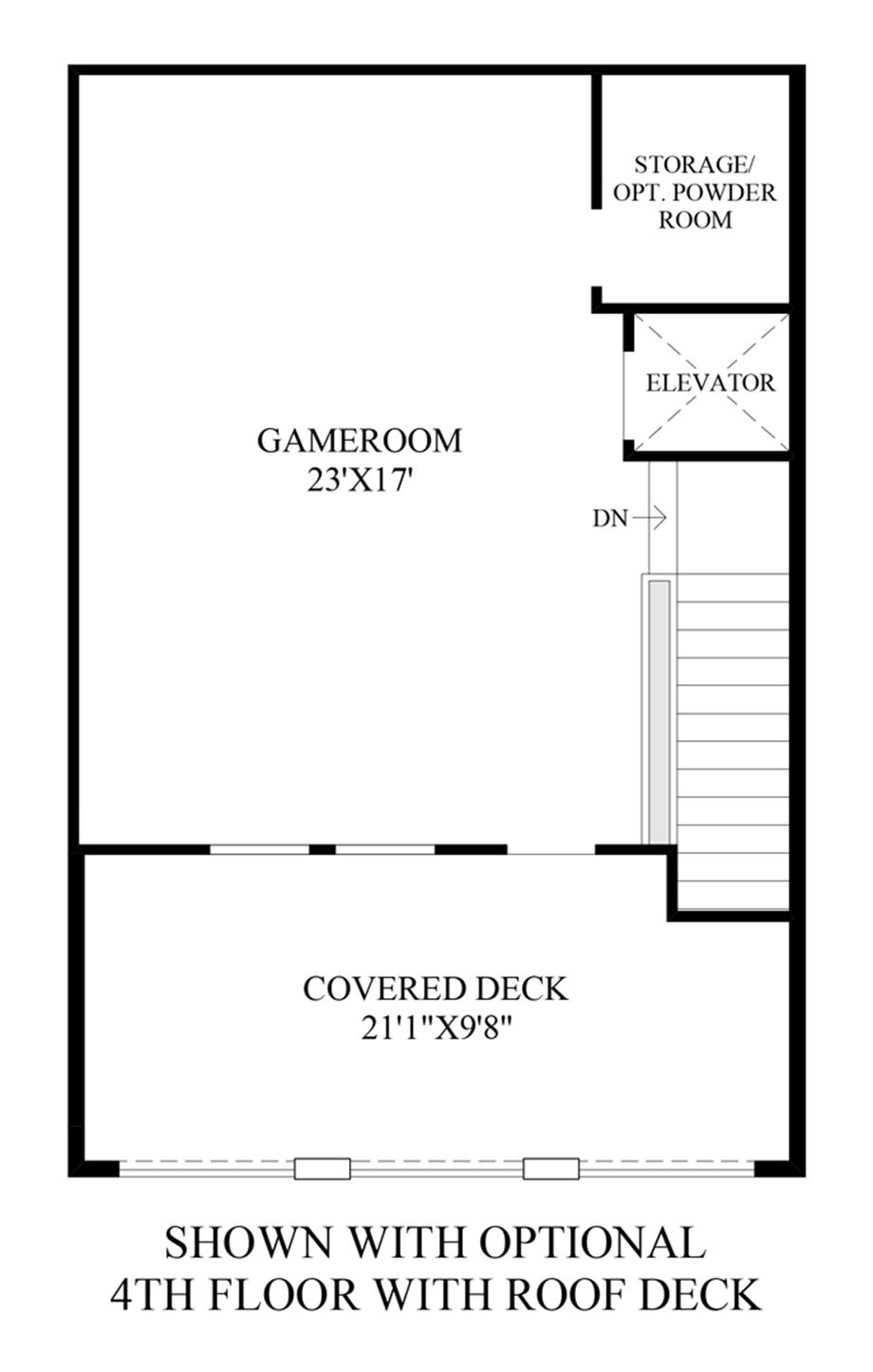 Optional 4th Floor w/ Roof Deck Floor Plan