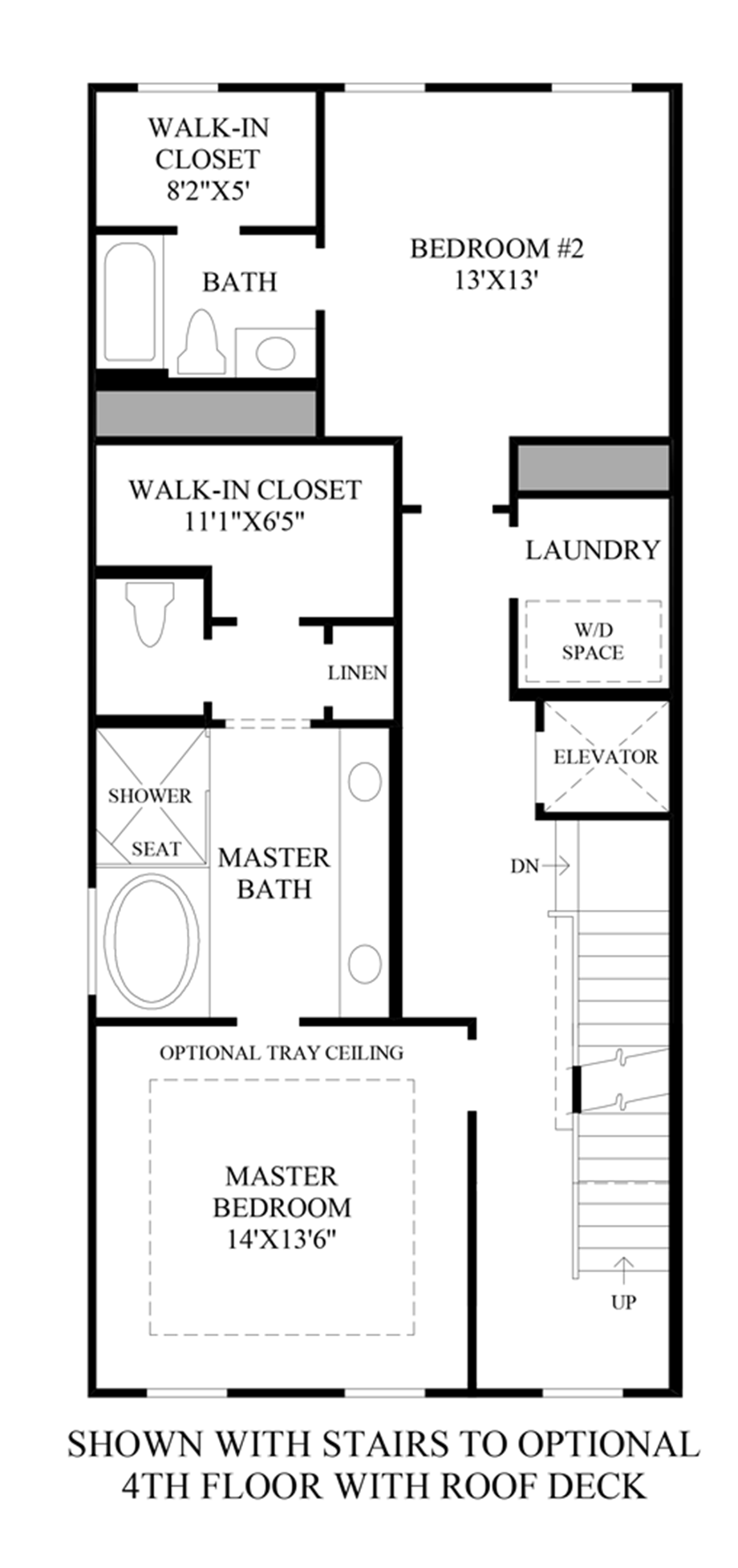 Stairs to Optional 4th Floor w/ Roof Deck Floor Plan