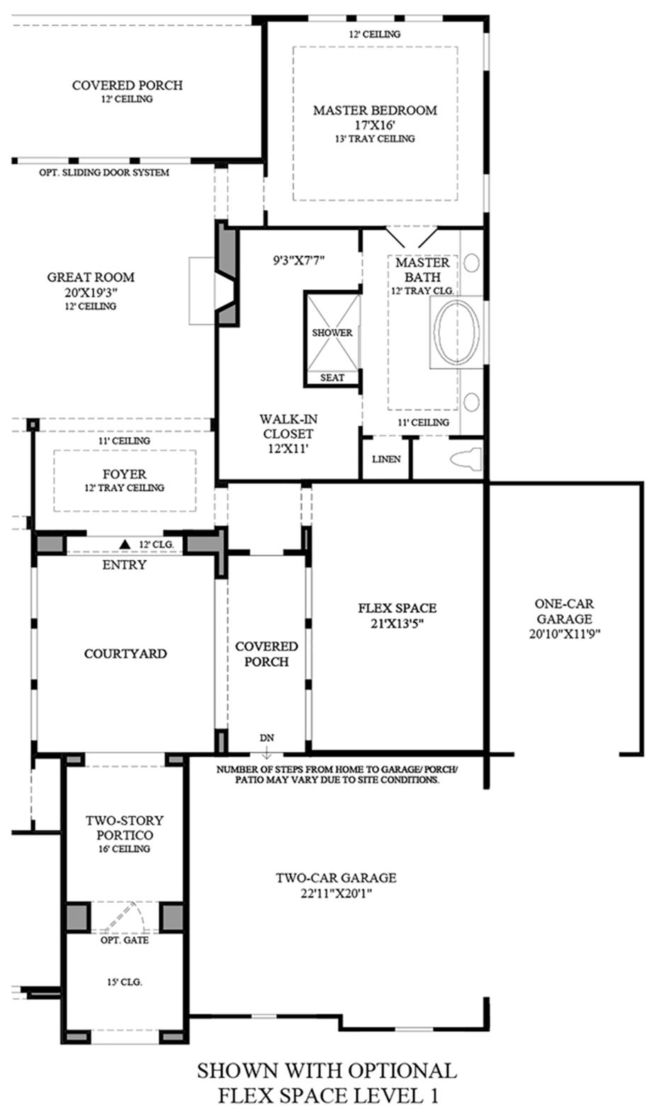 Optional Flex Space Level 1 Floor Plan