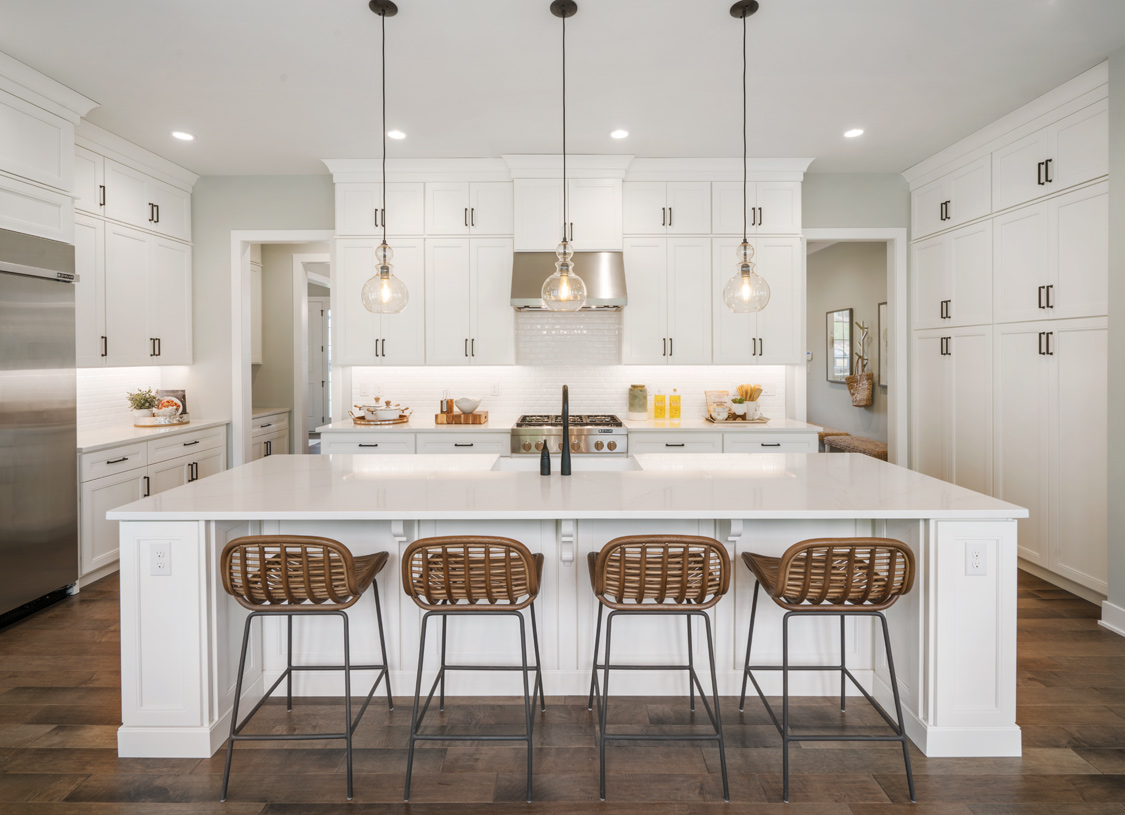 Amazing kitchen with large center island and walk-in pantry