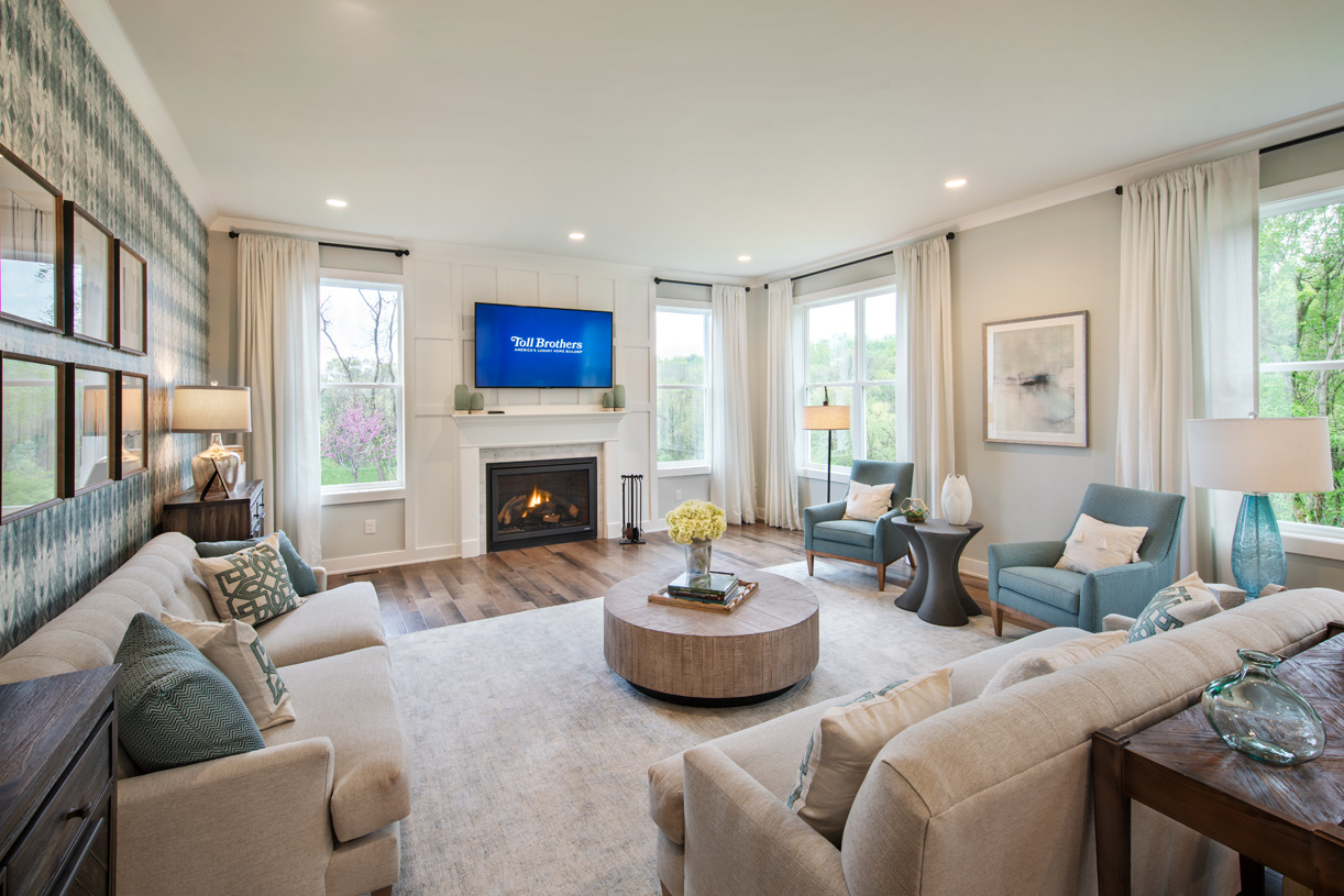 Expansive great room with cozy fireplace