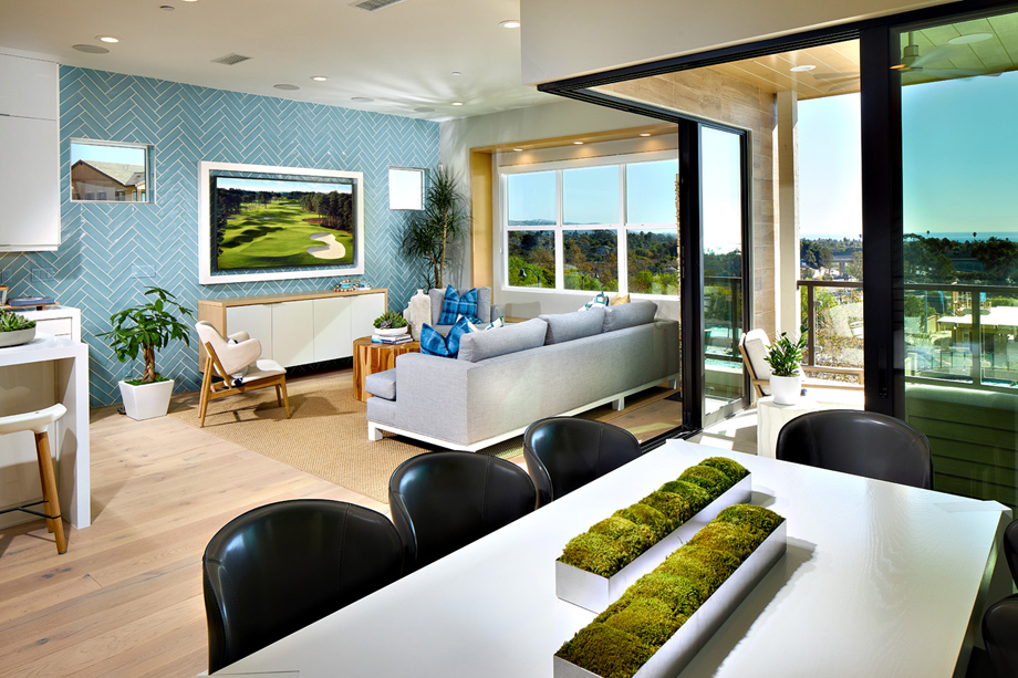 Dining room with views of living room
