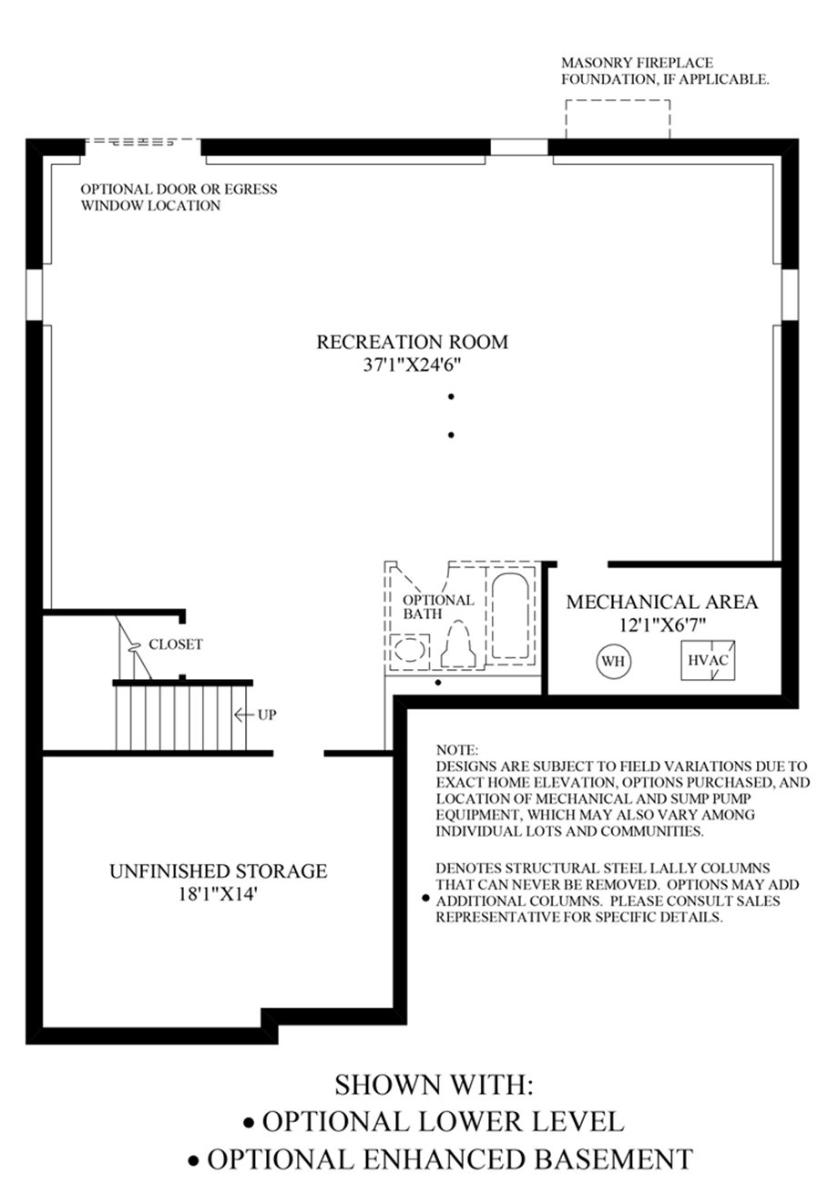 Optional Lower Level & Enhanced Basement Floor Plan