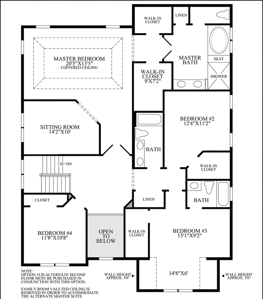 Optional 2nd Floor Layout w/ Expanded Family Room Floor Plan