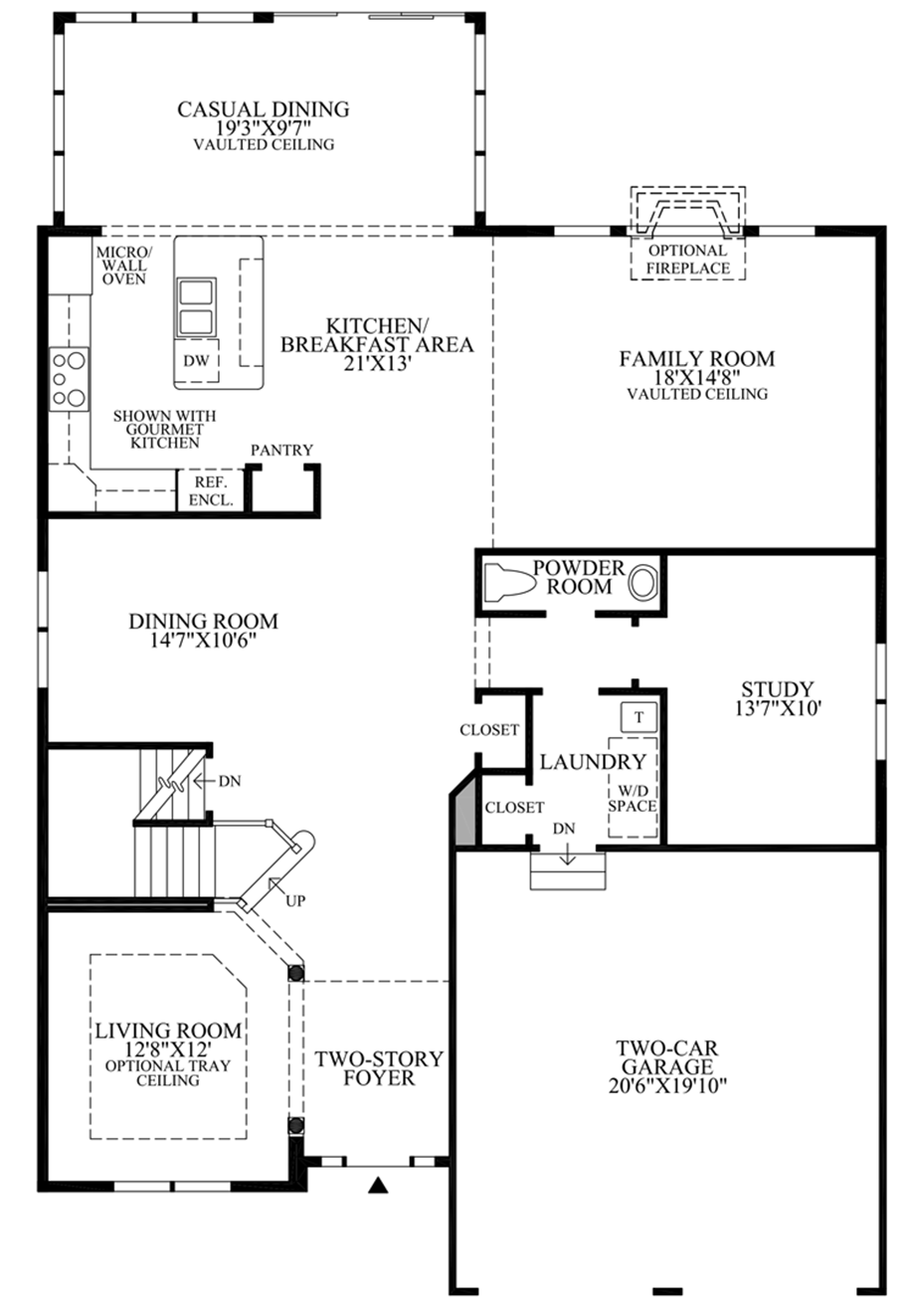 Optional Expanded Gourmet Kitchen Layout Floor Plan