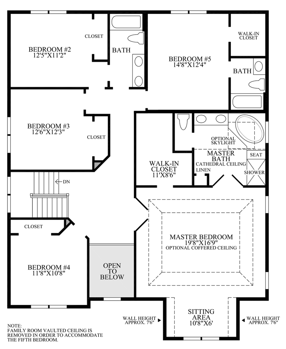 Optional 5th Bedroom w/ Additional Bath Layout Floor Plan