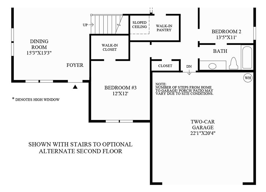 Stairs to Optional Alternate Second FLoor Floor Plan