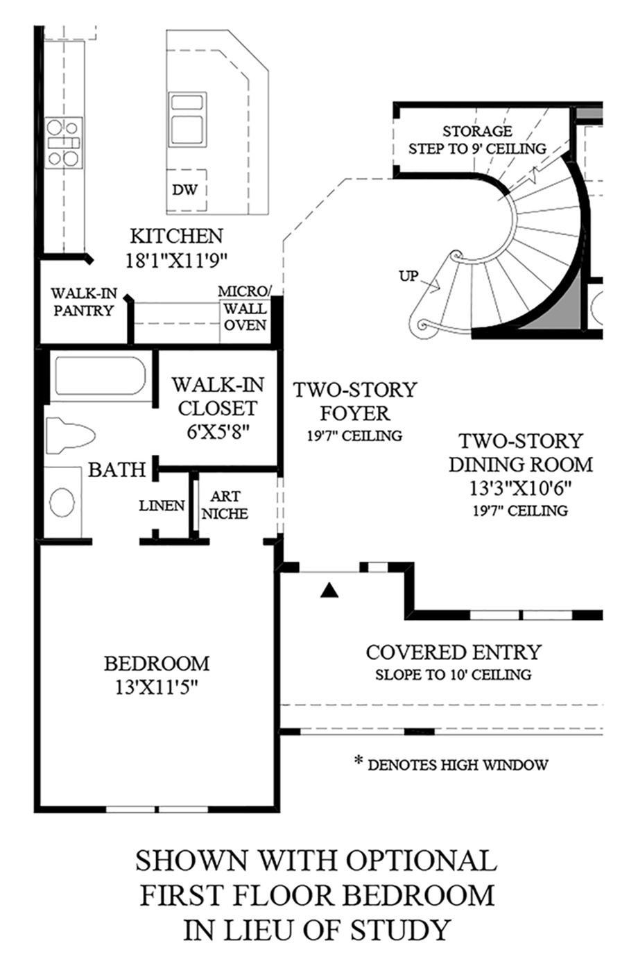 Optional First Floor Bedroom In Lieu of Study Floor Plan